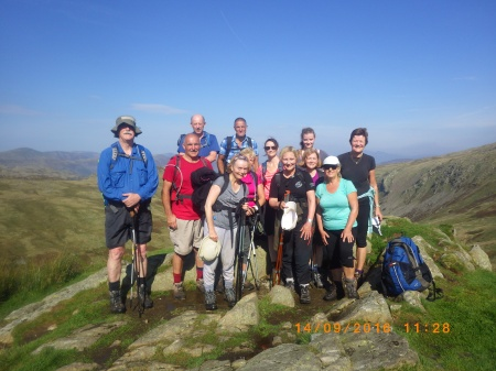 The team minus Christine at the top of Lining Crag, Borrowdale