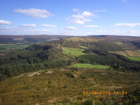 The view to The Wainstones from the top of Kirby Bank